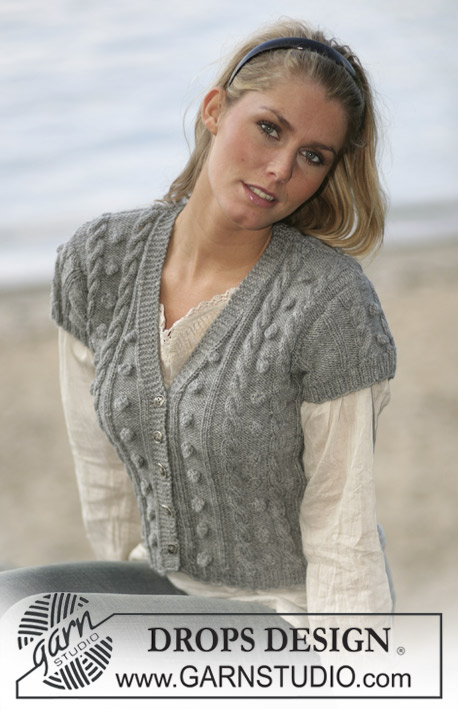 Free Knitting Pattern for a Ladies Short Sleeved Jacket with Cables and Bobbles