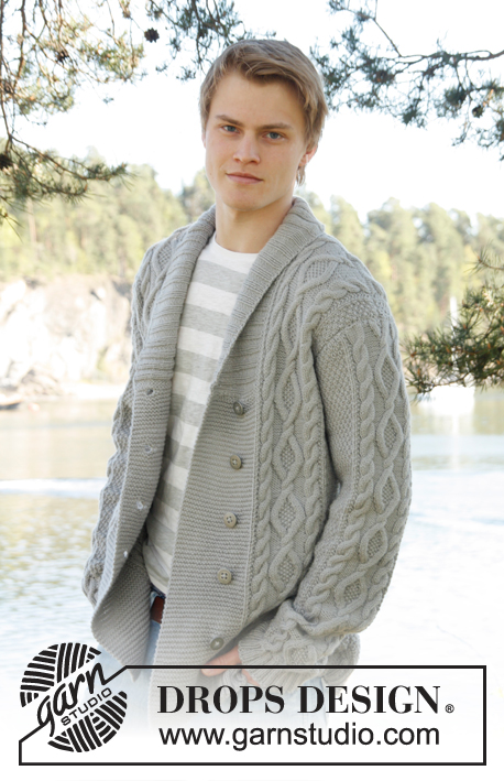 Gorgeous cable stitch men's cardigan with a shawl collar.