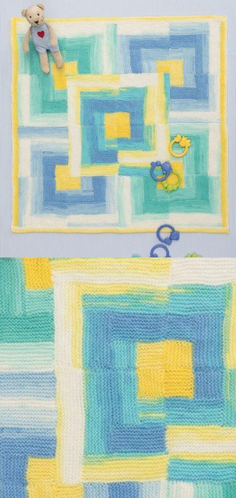 Easy baby blanket knitting pattern for beginners log cabin afghan