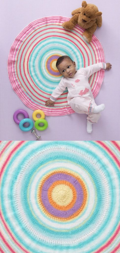 Easy baby blanket knitting pattern for beginners round afghan