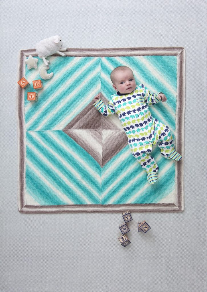Four square baby afghan free knitting pattern for beginners