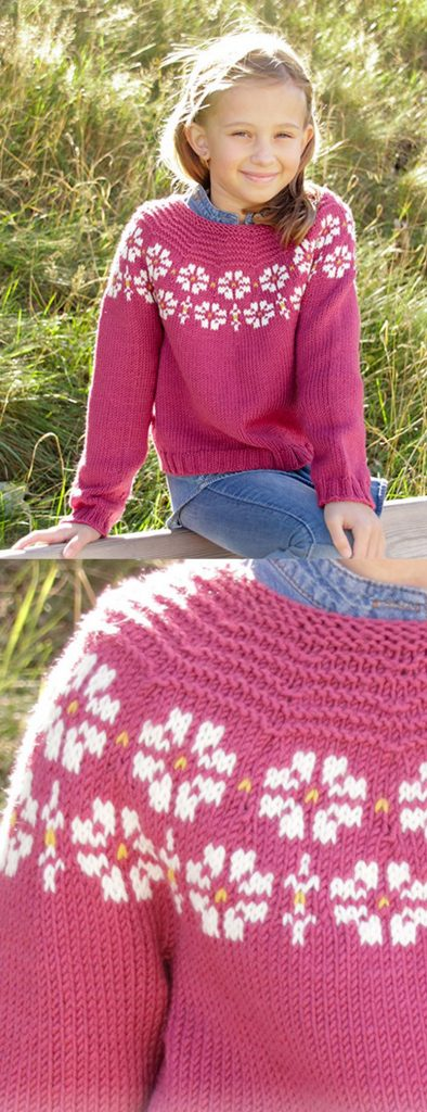 Free Knitting Pattern for Girls Flower Pullover