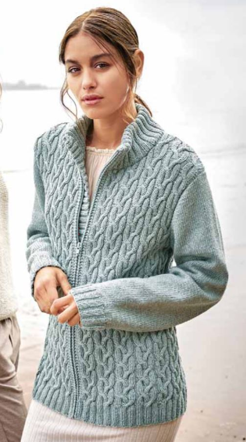 Free Knitting Pattern for a Cable Pattern Cotton and Yak Ladies Jacket