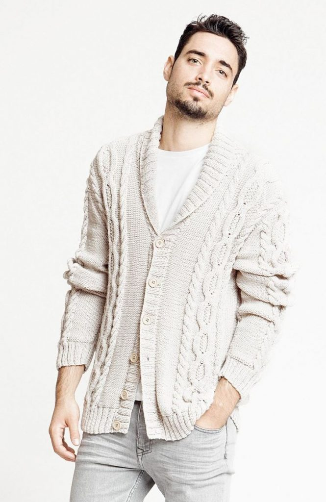 Free Knitting Pattern for a Cabled Man's Cardigan with a Shawl Collar.  Men's Shawl Collar Sweater Knitting Patterns