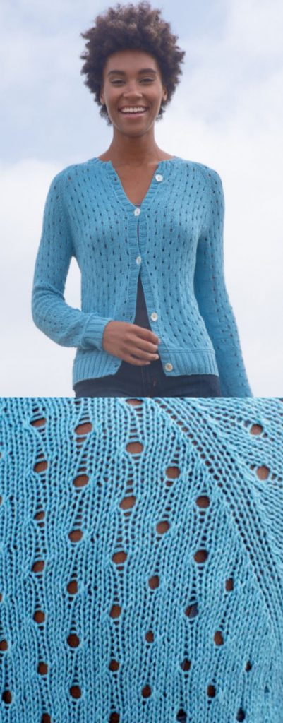 Free Knitting Pattern for a Swiss Dot Eyelet Cardigan
