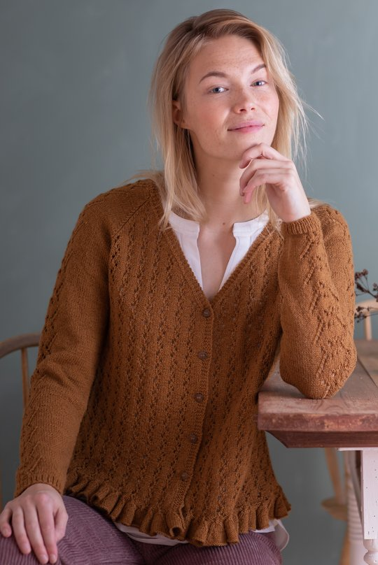 Free Knitting Pattern for a Women's cardigan with raglan sleeves