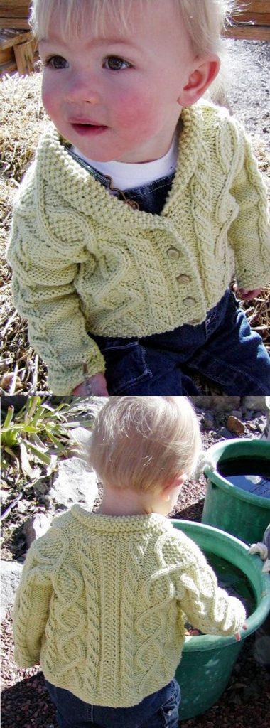 Free Knitting Patterns for Cotton Yarn Baby Aran cardigan