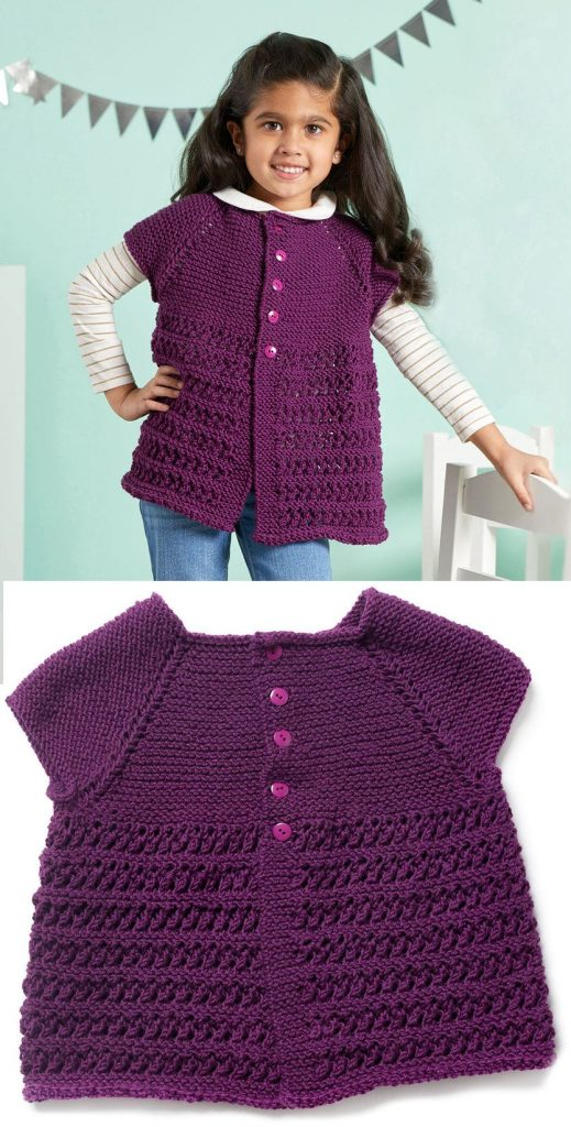Free Knitting Patterns for Girls Cardigan Short Sleeves