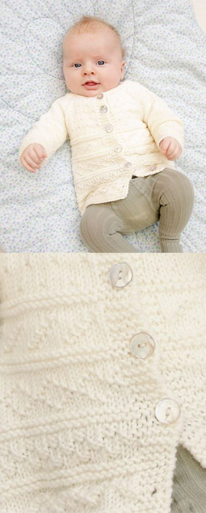 Free knitting pattern for a baby cardigan with raglan sleeves