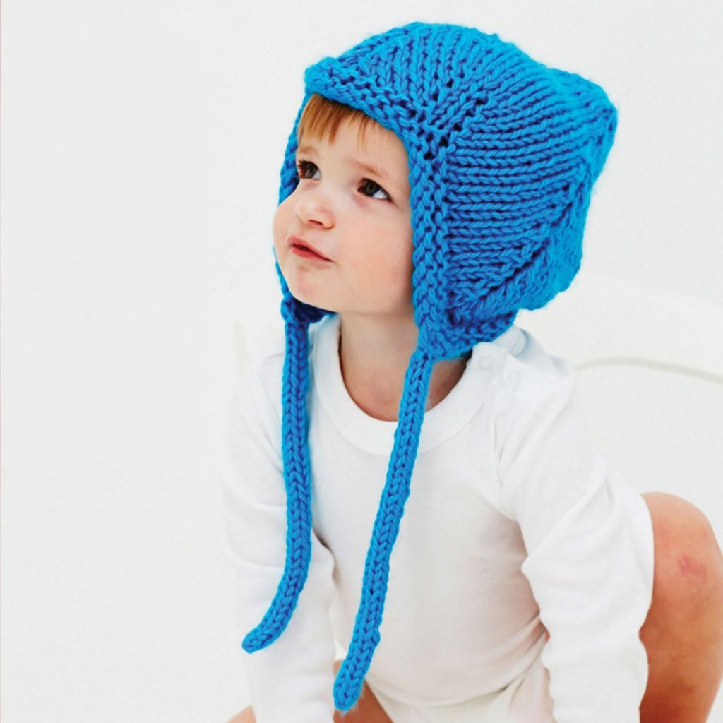Free knitting pattern for a baby hat with ear flaps