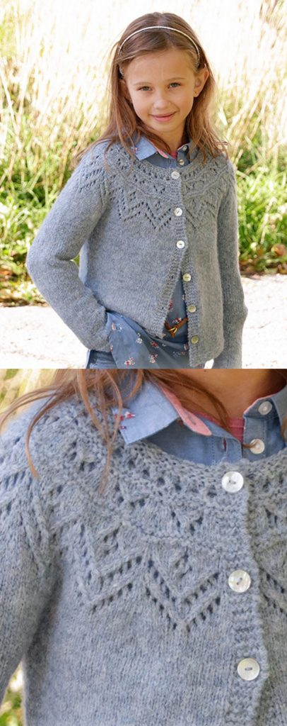 Free knitting pattern for a girls lace yoke cardigan