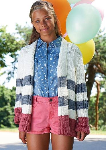 Free knitting pattern for a girls striped cardigan
