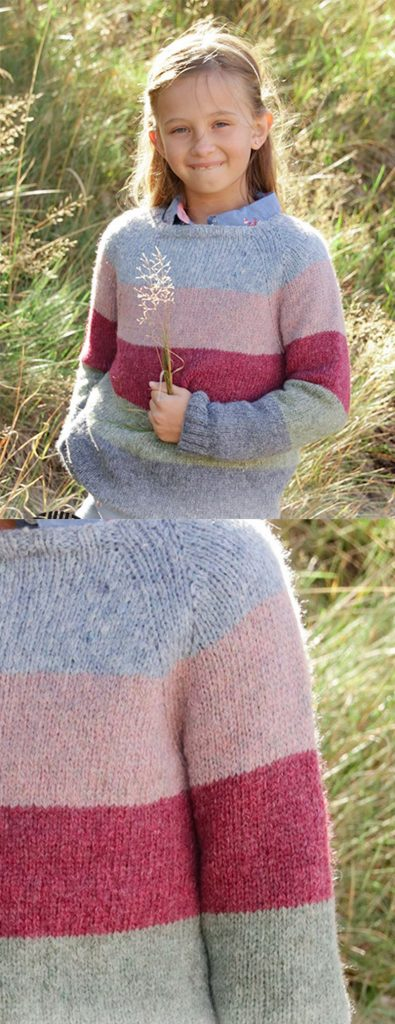 Free knitting pattern for a girls sweater