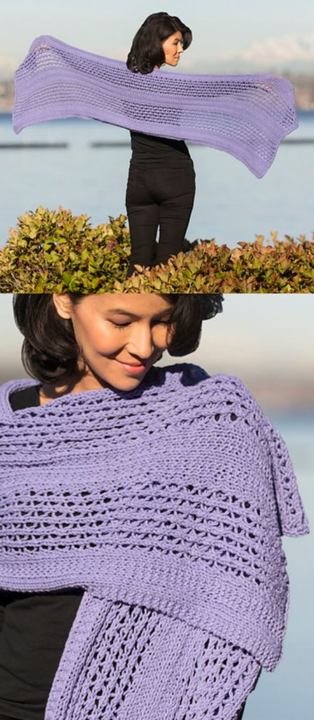 Free knitting pattern for a lace wrap with cotton yarn