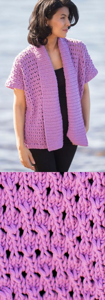 Free knitting pattern for a lacy Summer topper with cotton yarn