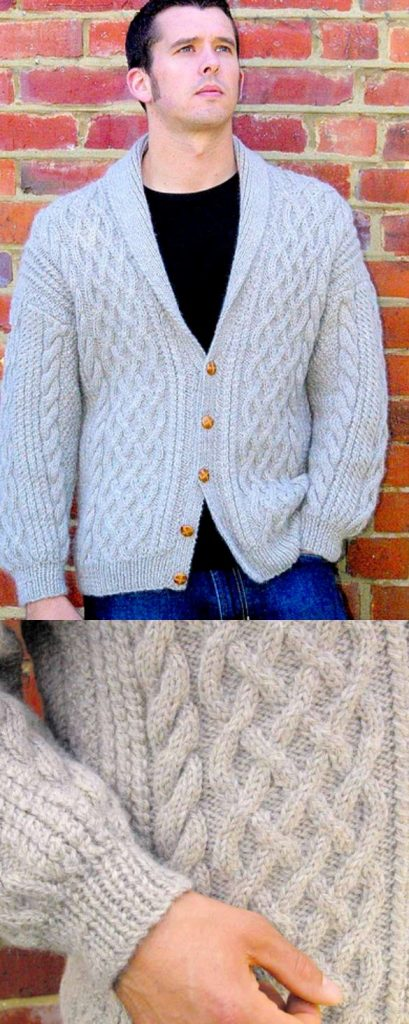 Free knitting pattern for a men's cable cardigan with a shawl collar