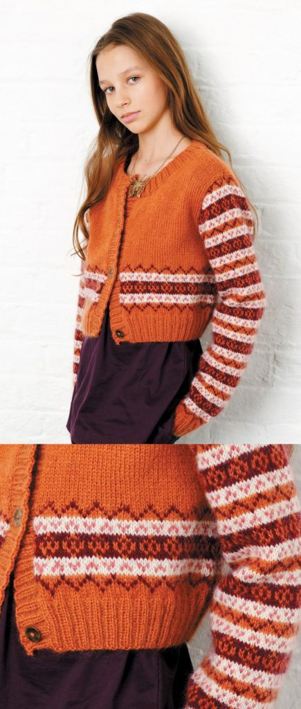 free knitting pattern for a girls fair isle cardigan