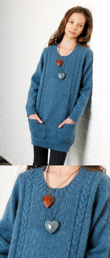 Free knitting pattern for girls tunic sweater
