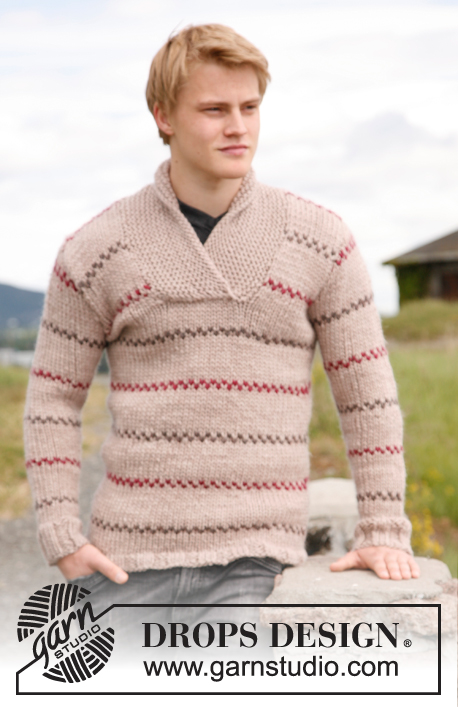 Knitted sweater for men with shawl collar and stripes