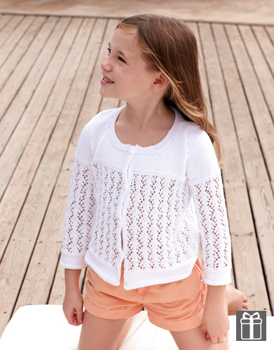 Free knitting pattern for girls. Lace Knit Cardigan for Girls.