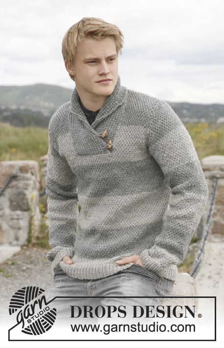 Men's knitted jumper with shawl collar, stripes and seed stitch.  Men's Shawl Collar Sweater Knitting Patterns