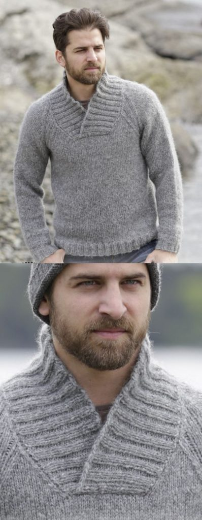 Men's knitted sweater, with raglan and shawl collar