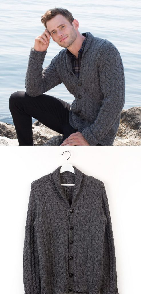 Men's shawl collar knitting pattern cardigan with cables