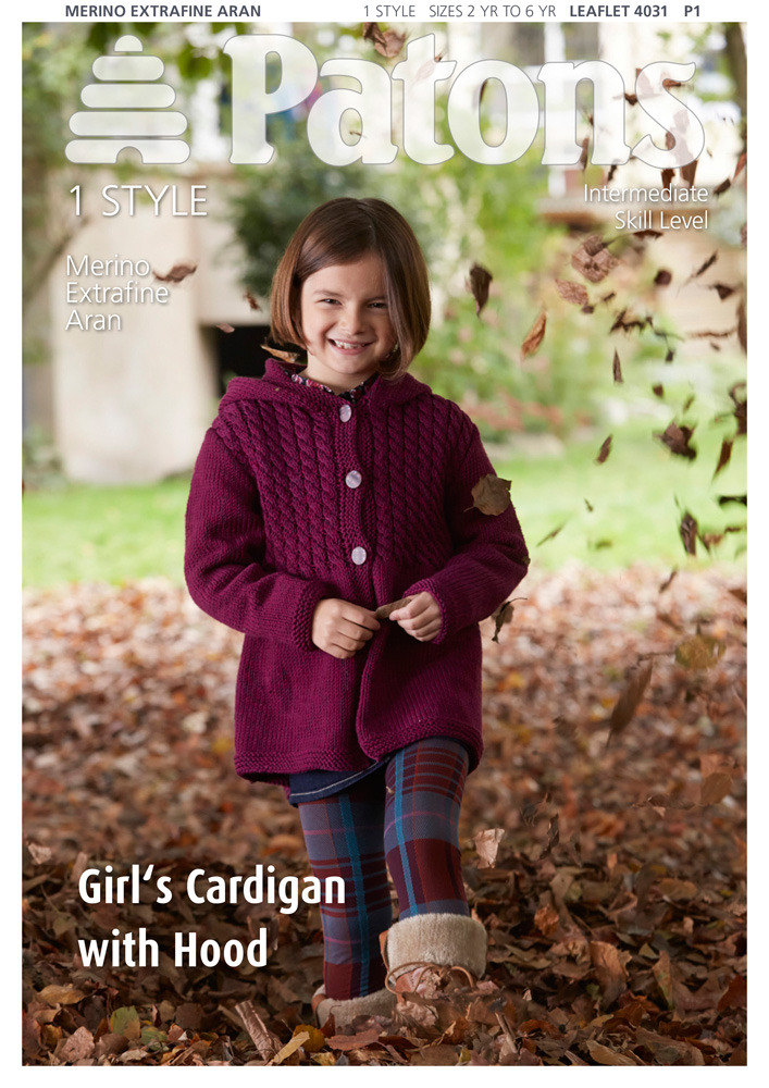 Girl's Cardigan with Hood in Patons Knitting Pattern