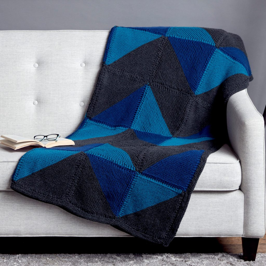 Free Knitting Pattern for a Graphic Chevron Blanket