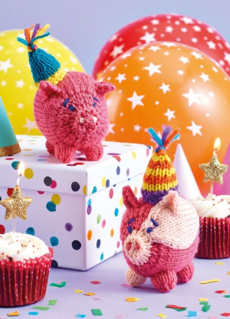 Free Knitting Pattern for Cute Party Pigs
