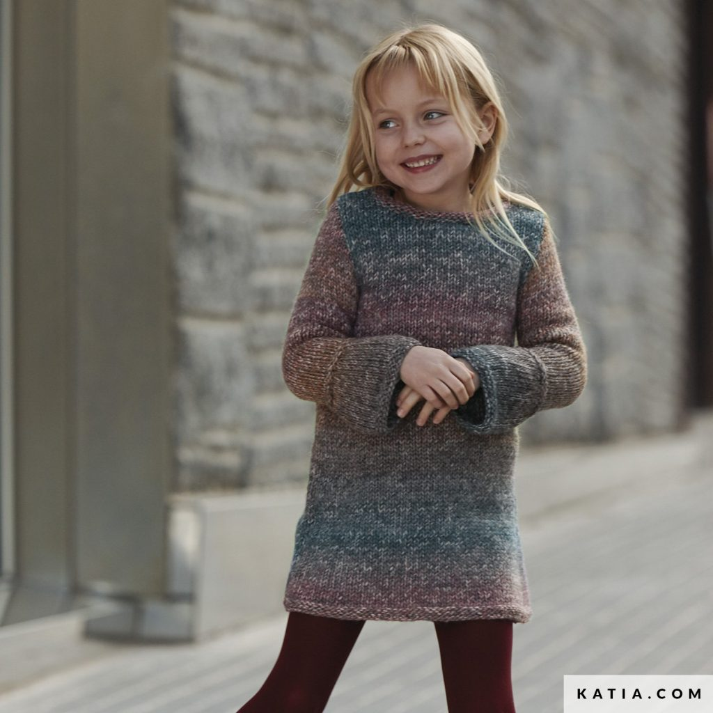 Free Knitting Pattern for a Basic Girls Dress with Long Sleeves