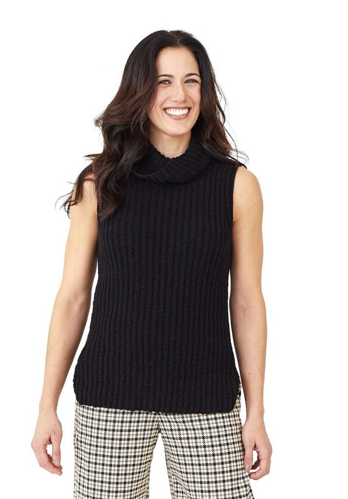 free knitting pattern for a womens vest in rib stitch with cowl collar
