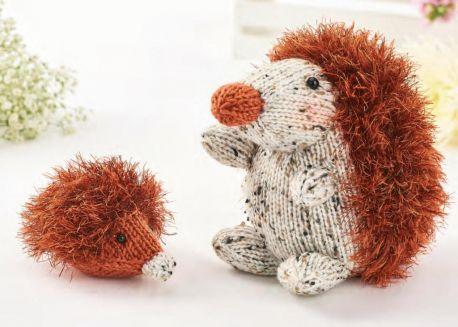 Free Knitting Pattern for a Easy Eyelash Yarn Hedgehog Toys