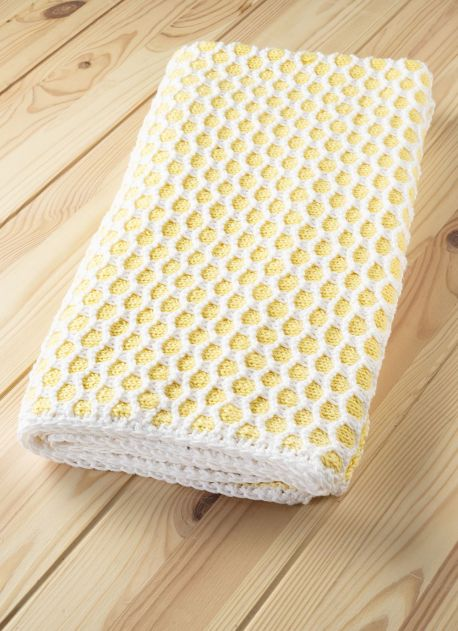 Free Knitting Pattern for a Honeycomb Baby Blanket