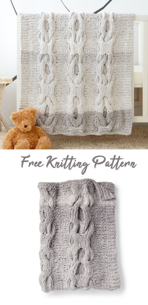 Free Knitting Pattern for a Hugs and Kisses Baby Blanket