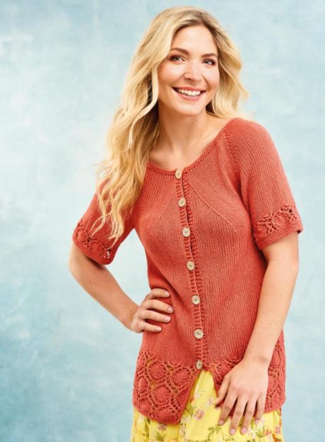 Free Knitting Pattern for a Lace Border Summer Cardigan