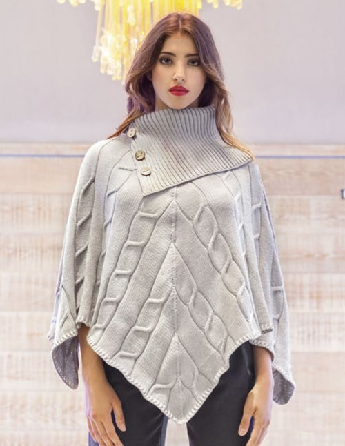 Free knitting pattern for a woman's poncho with cables pattern