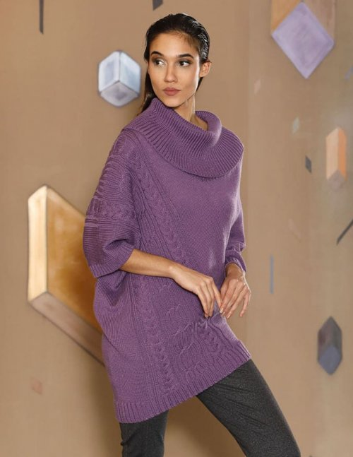 Free Knitting Pattern for a Lopsided Poncho with Cables