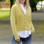 Free Knitting Pattern for a Marigold Sunshine Lace and Cable Ladies Cardigan