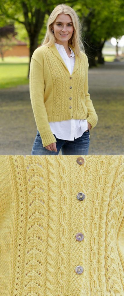 Free Knitting Pattern for a Marigold Sunshine Lace and Cable Ladies Cardigan with Shawl Collar