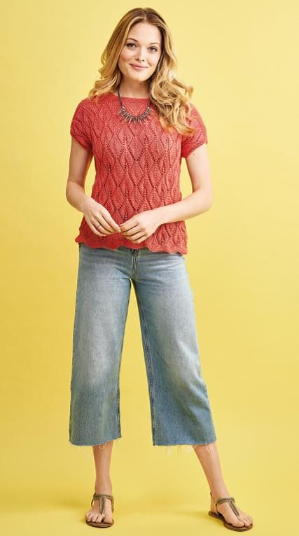 Free Knitting Pattern for a Summer Leaf Lace Top