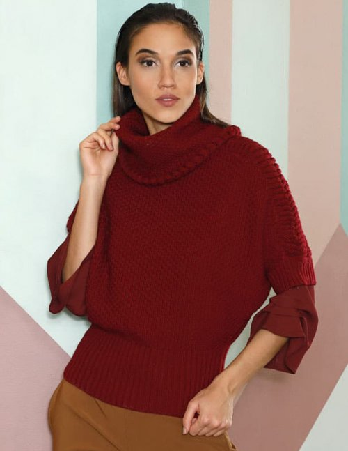 Free Knitting Pattern for a Trapeze Pullover With a Turtleneck