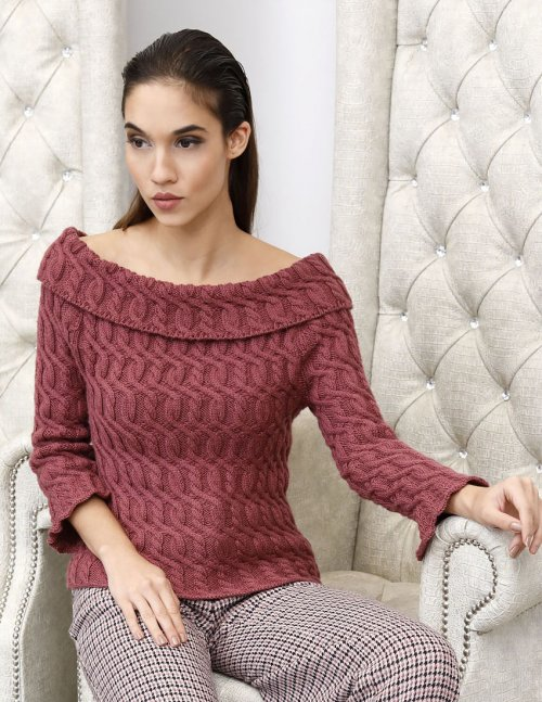 Free Knitting Pattern for a Turned Neck Sweater