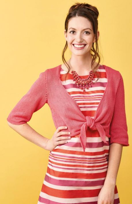 Free Knitting Pattern for an Easy Summer Tie Front Shrug