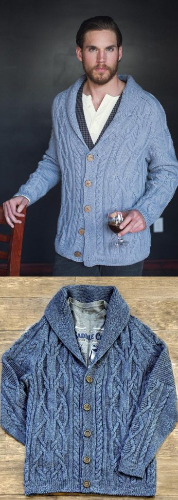 Knitting pattern for a men's shawl collar cardigan with cables
