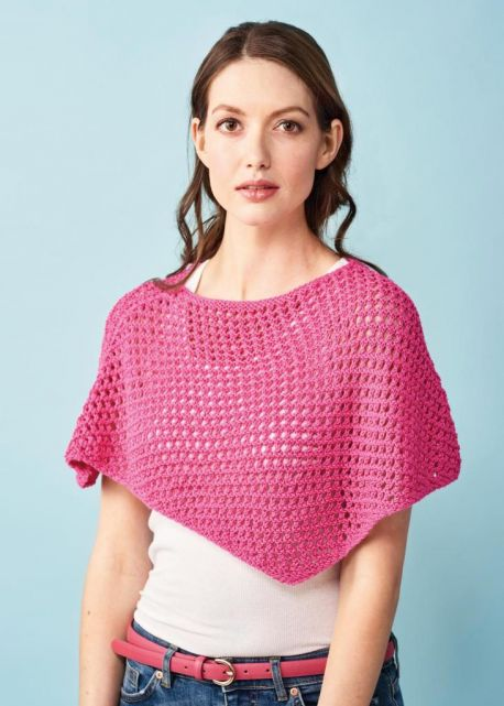 free knitting pattern for an easy Summer poncho for women