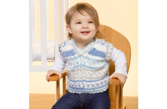 free knitting pattern for a v neck baby vest.