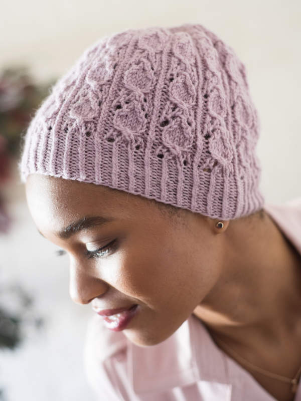 Free Knitting Pattern for Freshwater, a Ladies Lace Beanie