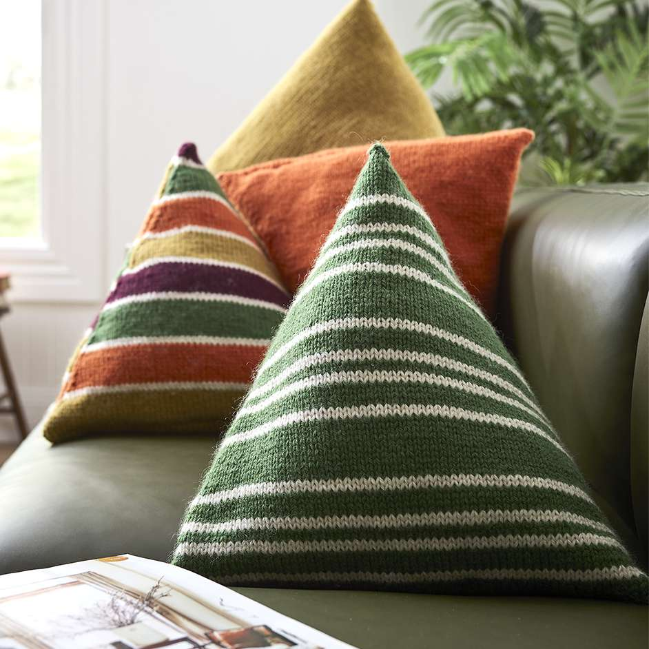 Free Knitting Pattern for Triangle Cushions
