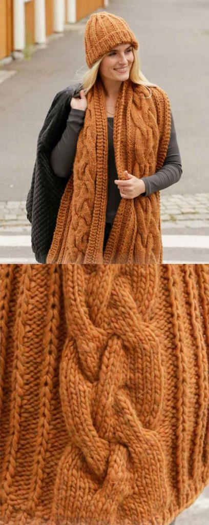 Free Knitting Pattern for a Cable Scarf and Hat Set